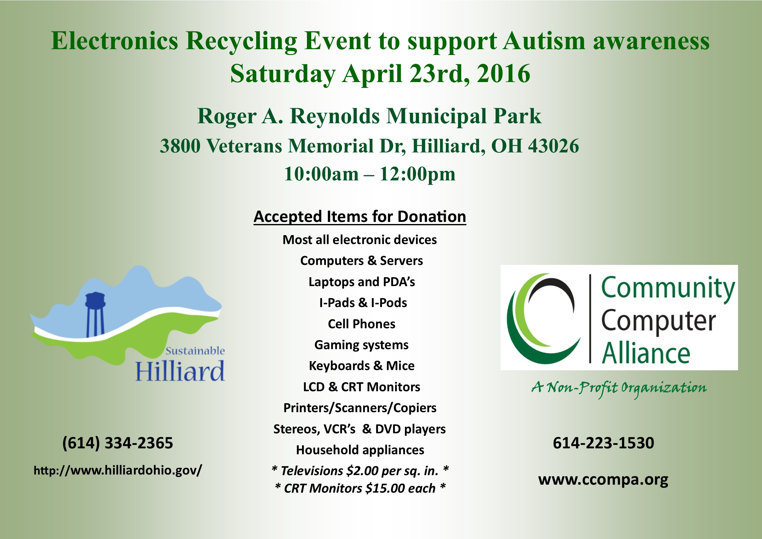 Hilliard Municipal Park Recycling Drive Flyer 2016